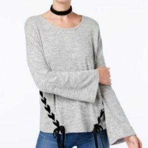 women's Laced-Side bell sleeve Top Grey L